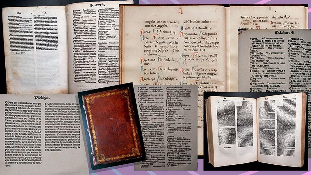 Identifican hojas de un diccionario hallado en la biblioteca de la Universidad de Princeton que fueron impresas entre 1492 y 1493. (Conicet).